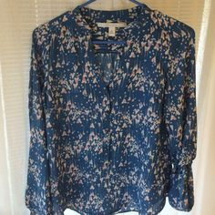 Lauren Conrad blue pattern blouse. Size XS. Worn very little. Bronze gold buttons on front of top and on sleeves. LC Lauren Conrad Tops Blouses