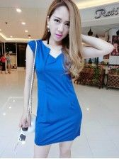 Korean Style     V Collar    Fashion Dress