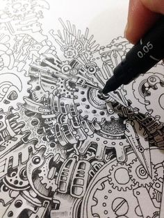 Drawing Doodles Sketches Steampunk Owl Illustration By Doodle Artist Kerby Rosanes / so fuckin awesome and unique ! Doodles Zentangles, Zentangle Patterns, Doodle Patterns, Steampunk Drawing, Steampunk Kunst, Owl Doodle, Doodle Art, Owl Illustration, Steampunk Illustration