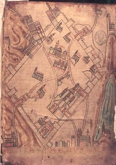 """[The """"Cambrai map"""" of crusader Jerusalem - 13th century]. Over the years, Saladin rose to become Sultan of Egypt and Syria. The real prize, however, was Jerusalem. In 1177, with an army of 26,000 men, he planned to attack the Christians and go on to take the Holy City."""