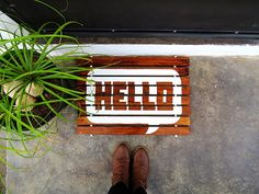Make a wood-slat doormat by Ohoh Blog (link to bobvila page with a tutorial and downloadable full size stencil)