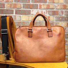 Slim Brief Horween Leather Briefcase Slim by PurityLeatherGoods