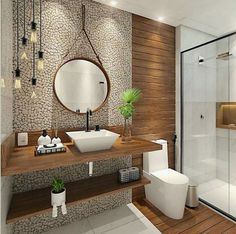 60 Elegant Small Master Bathroom Remodel Ideas Beautiful Small Bathroom Small Bathroom Ideas (Optimize your Tiny SpaceGray Bathroom Ideas For Relaxing Days And Interior Uniquely Inspiring Bathroom Mirror Ideas Source by dekanmahopac design Wooden Bathroom, Bathrooms Remodel, Bathroom Interior Design, Bathroom Decor, Kitchen Design Small, Small Master Bathroom, Bathroom Design, Bathroom Remodel Master, Bathroom Design Decor
