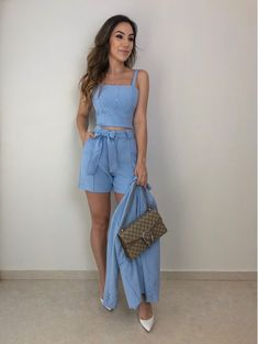 44 Cute Outfits To Wear This Summer Skirt Outfits, Chic Outfits, Fashion Outfits, Cute Summer Outfits, Spring Outfits, Blazer And Shorts, Western Outfits, Look Chic, Casual Looks