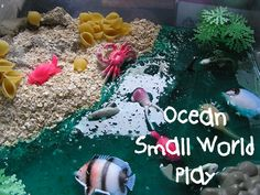 Ocean Small World Play - with edible landscaping perfect for those tots that put everything in their mouths Sea Activities, Sensory Activities Toddlers, Sensory Bins, Sensory Play, Infant Activities, Summer Activities, Nursery Activities, Small World Play, Fun World