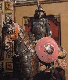 Ottoman mail and plate armor for horse and soldier, this type of armor became the standard  equipment for the heavy cavalry under the Timurids (1370-1506), the Mongol successor empire which ruled from Samarkand, and under the Ottoman Turks. These cavalry, armed with bow, sword and sometimes lance, were the main component of all medieval Islamic armies. Stibbert Museum, Florence Italy.
