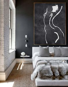 Extra Large Acrylic Painting On Canvas, Minimalist Painting Canvas Art, Black And White Nude Painting, HAND PAINTED Original Art.