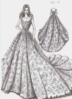 by Oleg Cassini Creative Director Viola Chan Dress Design Drawing, Dress Design Sketches, Fashion Design Sketchbook, Fashion Design Drawings, Dress Drawing, Fashion Sketches, Drawing Sketches, Fashion Drawing Dresses, Fashion Illustration Dresses