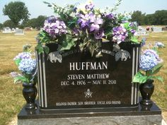 My son, Steven's headstone.  I made the floral arrangement for it.