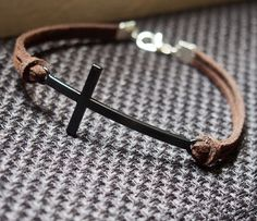 Cross Bracelet Single Vintage Cross Bracelet in Black-Brown Leather Bracelet-Men Gift-Boy Bracelet-Best Friendship Jewelry Gift Handmade Jewelry Bracelets, Bracelets For Men, Fashion Bracelets, Jewelry Gifts, Jewelery, Bracelet Men, Personalized Bracelets, Leather Jewelry, Leather Bracelets