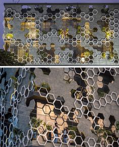 Studio Ardete Have Designed A Building With A Hexagonal Patterned Facade Studio Ardete have recently completed 'Hexalace', a new building in Mohali, India, that features a hexagonal pattern on its facade. Pattern Architecture, Architecture Design Concept, Facade Design, Facade Architecture, School Architecture, Building Elevation, Building Exterior, Building Facade, House Building