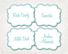 Candy Buffet Labels - Custom Color(s), Font - PRINTABLE - 8 Custom Candy, Popcorn, Snack, Ice Cream, Cookie Buffet Labels. $8.00, via Etsy.