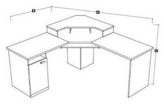 Bestar 69430 Hampton Home Office L Shaped Desks