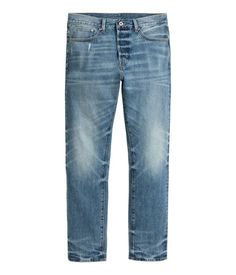 Denim blue. 5-pocket jeans in washed denim with a regular waist, button fly, and straight legs.