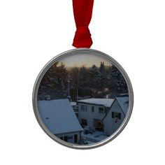 Magical Winter Sunrise - Orange Sun Christmas Tree Ornaments