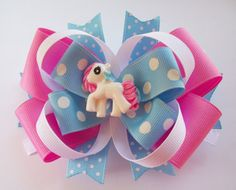 Pink And Blue Cute Little Pony Boutique Hair Bow