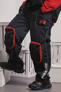 5a20eb436855 SHOW RICH DESIGNED BY ABOW LIFE MULTI POCKET TRACK PANTS IN BLACK