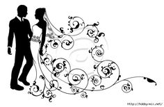 A bride and groom wedding couple in silhouette with beautiful bridal dress and abstract floral pattern. Could be having their first dance. Beautiful Bridal Dresses, White Bridal Dresses, Colored Wedding Dresses, Wedding Groom, Wedding Bridesmaids, Wedding Couples, Card Wedding, Bride Groom, Bride And Groom Silhouette