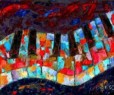 """Daily Painters Abstract Gallery: Abstract Piano Art Painting Keyboard Paintings Music """"Wavy Music"""" by Fine Artist Debra Hurd"""