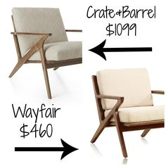 Decor Look Alikes| Crate & Barrel Cavett Chair Retails for $1099 This LAL is from Wayfair  Wayfair Martelle Leisure Chair Retails for $459.99