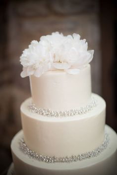 Such a beautiful simple wedding cake--- gold instead of silver accents, coral colored roses at the top... Really like this one