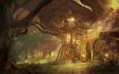Forest Retreat Fantasy landscape Fantasy concept art Forest village