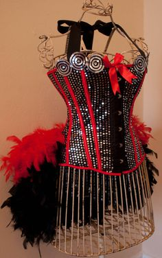 DIVA red black Burlesque Corset Costume by sweetcheeksburlesque