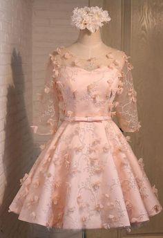 Short Bridesmaid Dress, Tulle Bridesmaid Dress, Applique Bridesmaid Dress, Cute Bridesmaid dress, Wedding Party