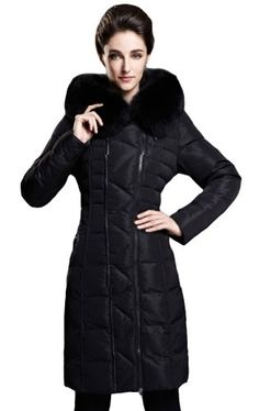 FACEA Womens Long Thicken Hood Belted Fur Trim Down Parka Coat Black 3XL   Your #1 Source for Sporting Goods & Outdoor Equipment