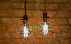 STORM CAGE LAMP w/ Phenolic Socket and Vintage Cotton Cording. $28.00, via Etsy.