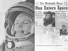 On April 12, 1961, Russian cosmonaut Yuri Gagarin (left, on the way to the launch pad) made the first human spaceflight,