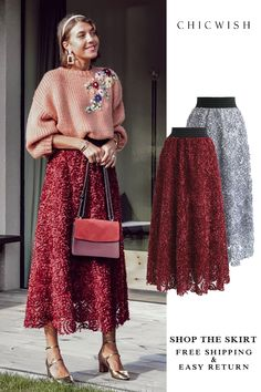 Flower Mesh Skirt The Effective Pictures We Offer You About Knitting gifts A quality picture can tell you many things. Fall Winter Outfits, Winter Dresses, Autumn Winter Fashion, Look Fashion, Unique Fashion, Womens Fashion, Fashion Hair, Fashion 2017, Fashion Styles