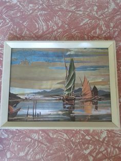 Foil art seaside print. Metallic hologram ocean sail boat scene with white wooden frame. Holographic shimmer.. $10.00, via Etsy.