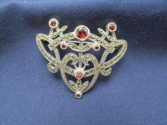Judith Jack Brooch Pin Garnet Red Flower Sterling Silver Marcasite Vintage 35f #JudithJack