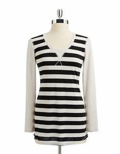 Calvin Klein Performance Contrast Sleeve striped Tunic