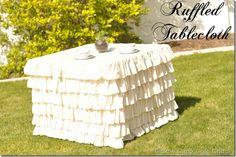 DIY ruffled square tablecloth.