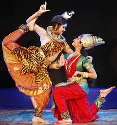 Traditional classical Indian dance - bharatnatyam with shiva and parvati