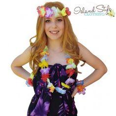 2a255b9bd1fa Lei SET Thin Multi-Coloured Hawaiian Fancy Dress Necklace. Moana Theme  Party, Luau