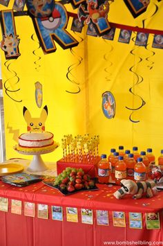 This Pokemon Birthday Party could not be any cuter!!  LOVE the Pokemon card pennant banners and that cake topper! #pokemon