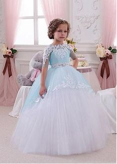 Eye-catching Tulle & Satin Bateau Neckline Ball Gown Flower Girl Dresses With Lace Appliques