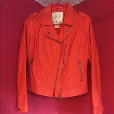 Arden B pleather jacket Bright orange Arden B pleather jacket, size medium. New, never worn. No stains, rips or tears. Arden B Jackets & Coats
