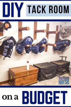 Building a functional and beautiful tack room can cost much less than you'd expect with a little hands-on work. Kelly of the Hunky Hanoverian shares how you can DIY your very own tack room and save major dollars. Horse Tack Rooms, Horse Stables, Horse Farms, Dream Stables, Tack Trunk, Tack Room Organization, Dressage, Horse Gear, Horse Tips