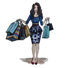 Shopaholic | Illustration | watercolor & Pen&Ink | DarcyJoelle!