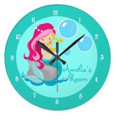 Custom Mermaid Girl Teal Large Clock