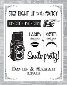 Custom Art Deco Photobooth Sign DIY Wedding by CreativePapier, $8.00