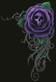 I like the skull in the center of the rose, a good concept to play with a bit Skull Rose Tattoos, Body Art Tattoos, Tatoos, Skull Wallpaper, Rose Wallpaper, Skull Pictures, Skull Artwork, Skeleton Art, Day Of The Dead Skull