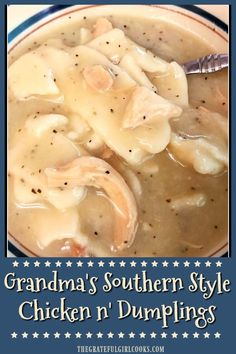 "chicken dumplings crock pot You'll LOVE ""Southern Style"" chicken n' dumplings just the way my Grandma made them! A big bowl of this filling hot soup is comfort food at it's very best! / The Grateful Girl Cooks! Homemade Chicken And Dumplings, Crockpot Chicken And Dumplings, Dumplings For Soup, Chicken And Dumplings Southern, Southern Dumpling Recipe, Old Fashioned Dumplings Recipe, Home Made Dumplings Recipe, Buttermilk Dumplings Recipe, Easy Chicken And Dumplins"