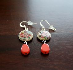 Feminine floral and corally pink dangle earrings. by TheFloralFern