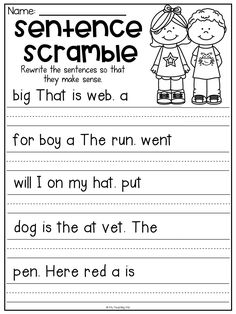 Kindergarten Graduation Ideas Discover Sentence scramble worksheet for kindergarten. Students unscramble the words and rewrite them to form a sentence. First Grade Worksheets, School Worksheets, Grammar Worksheets, Grammar Rules, Free Kindergarten Worksheets, Preschool Lessons, English Worksheets For Kids, Kindergarten Literacy, Literacy Centers