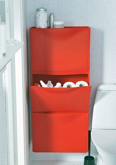 Trones shoe cabinet from Ikea is a simple cabinet meant for use in the closet, but how about as a TP holder in the bathroom?